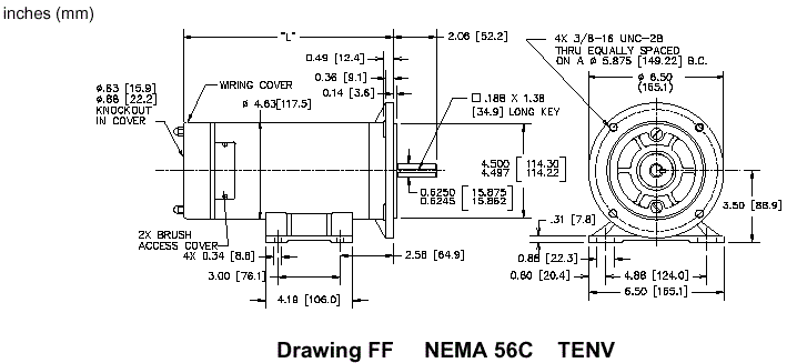 dimensions drawing ff nema 56c tenv